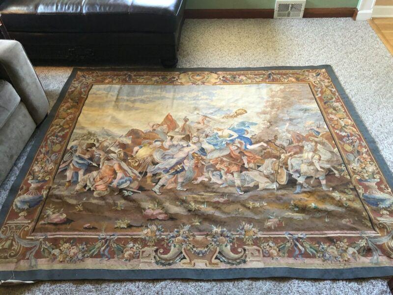 Antique Aubusson tapestry La Bataille d