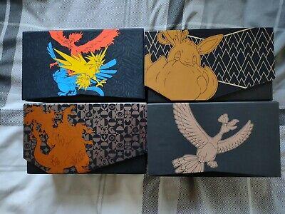 4 Pokemon Empty Elite Trainer Boxes - Shining Legends, Hidden Fates, SF & CP