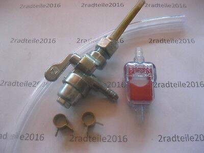 Zündapp , Benzinhahn mit Metallbecher  im Set + Filter , Schlauch u. Klemmen