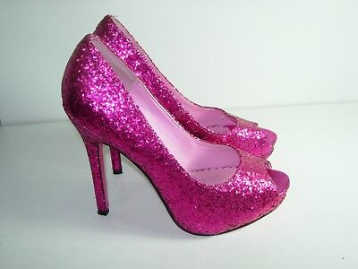 WOMENS HOT PINK GLITTER PUMPS OPEN TOE STILETTO HIGH HEELS SEXY SHOES SIZE 7 M