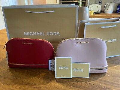 Michael Kors Make up cosmetic Bag Case Travel Pouch Red or Pink Saffiano Leather