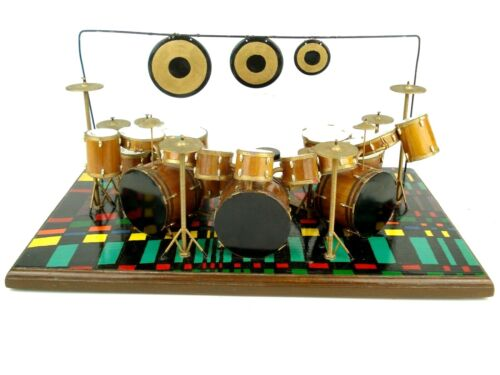 """Vintage 32 Piece Miniature Hand Crafted Drum Kit Set 17"""" x 11"""" Dated/Signed 1998"""