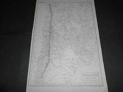 1860 LARGE ANTIQUE MAP CHILE, ARGENTINA LA PLATA AND BOLIVIA