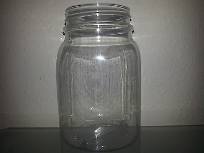 4 26 OZ Clear Plastic Mason Jars & 4 Plastic Lids Cups BPA FREE! MADE IN THE USA ()