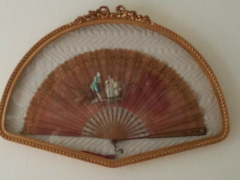 Shadowbox VTG/Antique Hand Painted Wood/Cloth Fan Victorian Scene - Gold Frame
