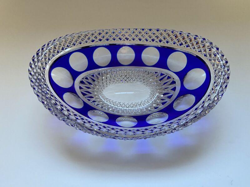 Vintage German Bohemian Lead Crystal Oval Bowl Cobalt Blue Cut To Clear 1970