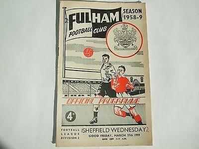 Fulham v Sheffield Wednesday - Division 2 - 27th Mar 1959
