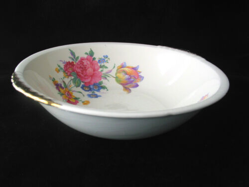 Paden City Pottery Rosalee 9 In. Vegetable Serving Bowl w/ Gold Trim | Vtg 1940s