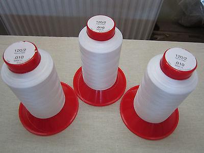 (0,11€/100m)  3 x 5000 m Pekirgarne für Overlock & Blindstichmaschine 120/2 Weiß