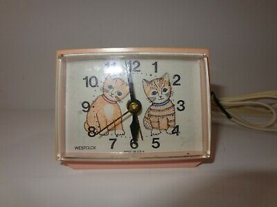 Vintage Pink Kittens Westclox Electric Alarm Clock Cats Very Rare Tested Works