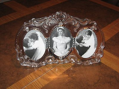 """FROSTED CRYSTAL GLASS PICTURE FRAME HOLDS 3 PHOTOS 3""""X5"""" PICTURES 10""""L X 7"""" TALL"""