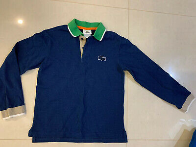 Lacoste Kids Boys Navy Blue & Green Long Sleeves Polo Shirt Top Size 10