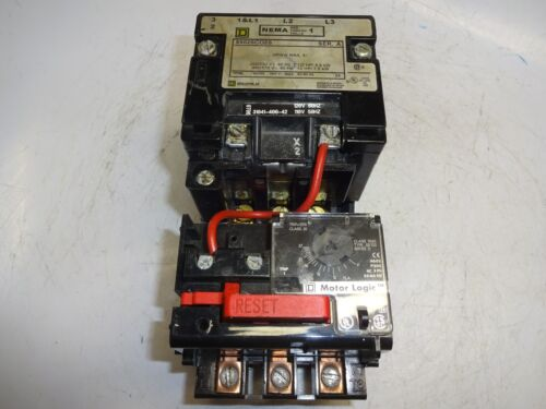 SQUARE D 8502SCO2S MOTOR STARTER WITH MICRO LOGIC 9065SS120 OVERLOAD RELAY