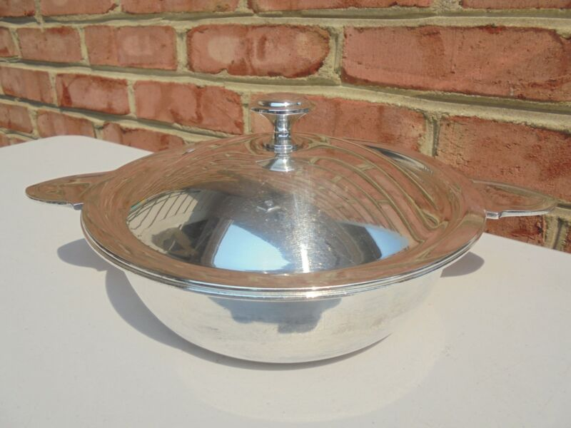 Christofle Paris 1930s Silverplate Metaille Blanc Art Deco Covered Casserole