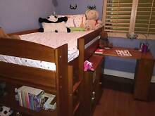 Single Loft Bed with Slide Out Desk and Cupboard/Shelf Bookcase Balmain Leichhardt Area Preview