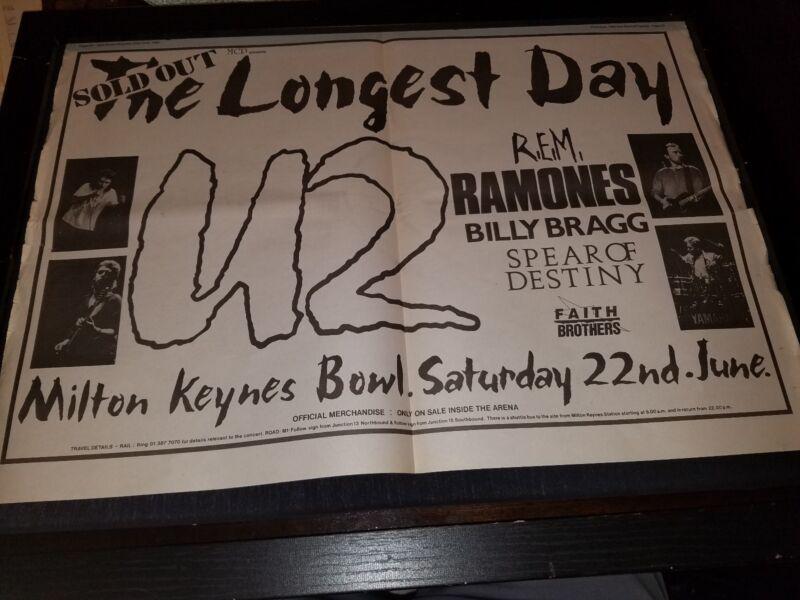 U2, REM, Ramones Longest Day Festival 1985 Rare UK Promo Poster Ad Framed!