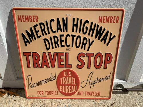 """""""TRAVEL STOP"""" EMBOSSED METAL SIGN (17.5""""x 17.5"""") MINT CONDITION (NOS) GREAT SIGN"""