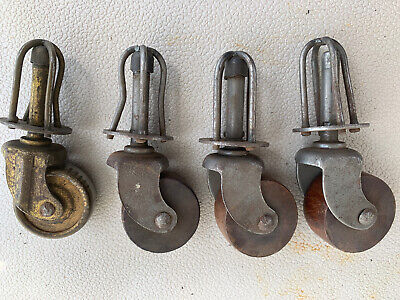 4 Vintage Industrial Metal Cast Iron Caster Wheels Three Wooden Furniture