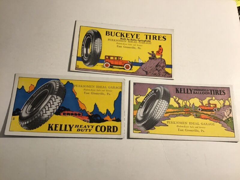 Buckeye/ Kelly Springfield Tires Ink Blotter Lot East Greenville PA Hudson Essex