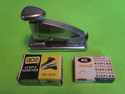 Vintage Ace Scout Desk Stapling Machine 202 In Box Wstaples Staple Remover