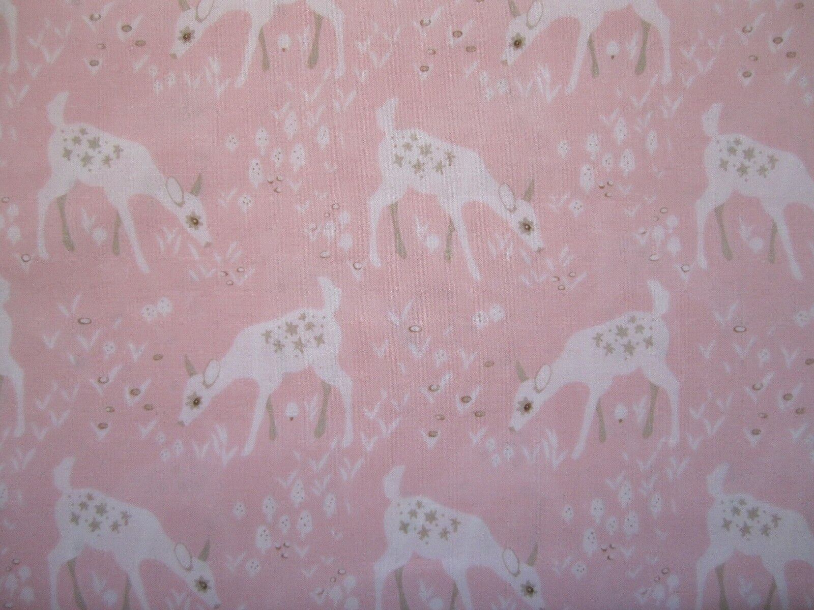 Woodland Gathering - young deer/bambi on pink 100% cotton fabric from Clothworks