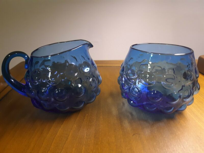 Signed 1961 Blenko Cream (6047-P) and Sugar (6047-B) set in Turquoise Bubble