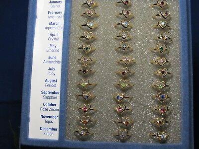 Kids Birthstone Rings (Adjustable Crystal Heart Birthstone Month Ring Childrens 1)