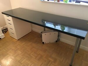 IKEA Linnmon /Alex table (with custom glass top)