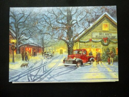 VINTAGE STYLE UNUSED CHRISTMAS CARD SMALL TOWN SNOW OLD CAR TRUCK PEOPLE