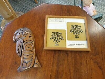 TWO PIECES OF MID CENTURY VINTAGE CANADIAN WEST COAST INDIAN ART NATIVE INDIIAN