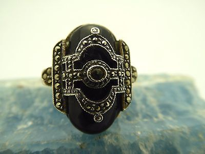 Vintage Art Deco Style 925 Sterling Silver Black Onyx Marcasite Ring Size 6 1/2