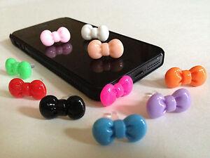 10pcs Mix Color Bow Dust Plug For iphone & 3.5mm Earphone cap Mobile Phone #11