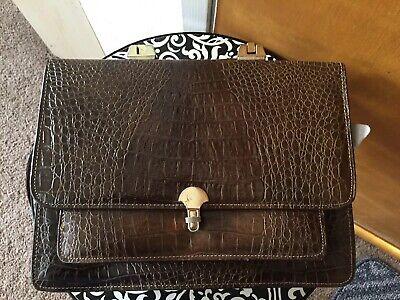 Bellerose Vintage Alligator Look Leather Shoulder Bag Handbag Brown