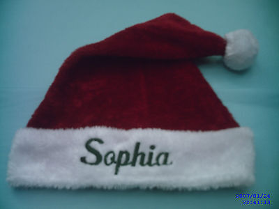 """PERSONALIZED MONOGRAMED ,RED AND WHITE """"""""PLUSH"""""""",,SANTA  HAT, / CAP, 18 '' TALL"""