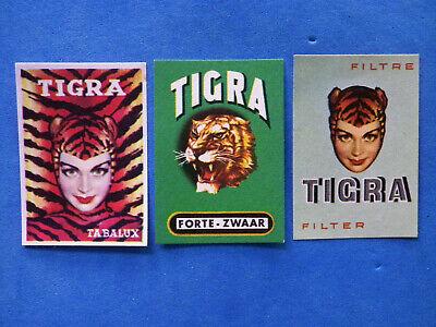 Etiquette d'allumette ancienne 3 matchbox label Belgique cigarettes Tigra