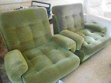 olive green fabric pair of lounge chairs Uralla Uralla Area Preview