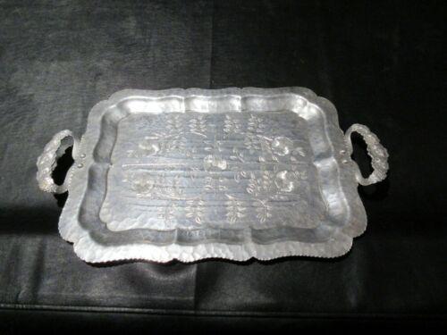 Vintage Continental Silver Co Aluminum Tray Wild Rose Brilliantone 1055