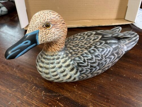"Beautiful Hand Painted, Carved Wooden Duck Figurines Decoy Carved 10"" x 6"""