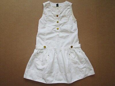 White Dress For Girl (Zara girl white denim cotton summer skulls buttons sleeveless dress sz 9)