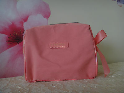 Lancome CORAL Cosmetics Bag W/ Matching Bow -COTTON material Approx: 7x6x2.5 (Make Up Materials)