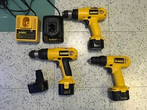 DeWalt lot of 18V drills, batteries and chargers
