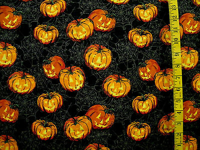SPIDER WEB PUMPKIN JACK O LANTERN HALLOWEEN PRT 100% COTTON FABRIC BY T 1/2 YARD](Spider Halloween Pumpkin)