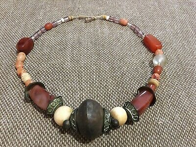 Collier Africa Ethnic Beads Carved Carnelian Amethyst