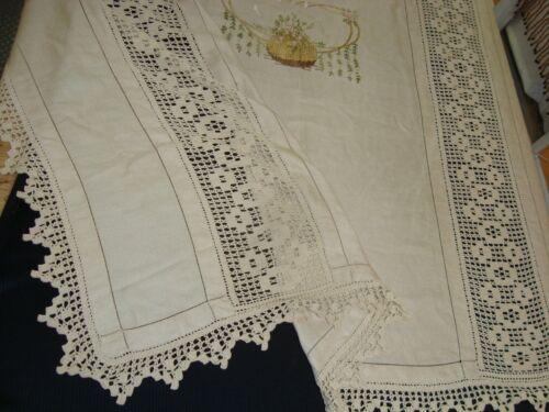 "VTG Handmade CROCHET Embroidered FULL COVERLET LACE Cotton 84"" x 78"" Ecru"