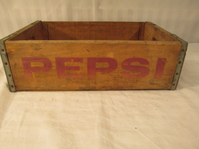 VINTAGE PEPSI WOOD CRATE CARRIER BOX NATURAL COUNTRY KITCHEN RETRO DECOR