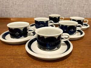 Vintage Arabia Anemone Cups & Saucers **RARE**