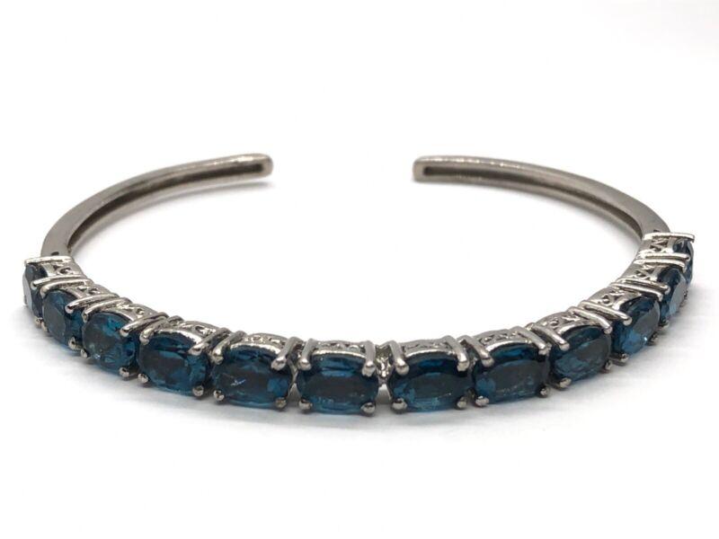 "Chuck Clemency STS Sterling Silver Bracelet 7"" Cuff Blue Topaz Signed"