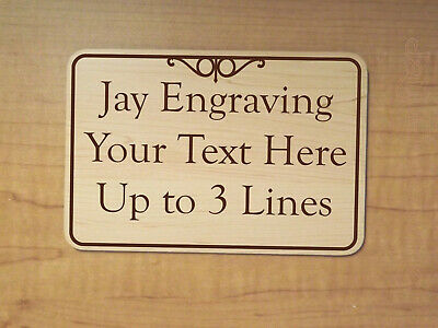 Custom Engraved 3x5 Birch Woodgrain Office Suite Sign Business Home Personalized