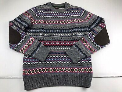 Barbour Beacon Fair Isle Nordic Sweater Wool Elbow Patches Men Small S
