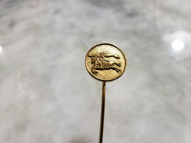 Vintage Burberry Burberrys Italy Made Horse Logo Lapel Tie Stick Pin - Authentic